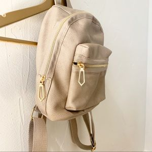 NWOT Gray Backpack Purse - Gold Trim
